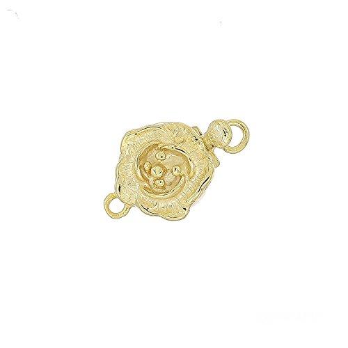 egemmall 14kt Gold Plated Sterling Silver Rose Flower 1-str Pearl Box Clasp 9mm for DIY Neckalce and Bracelet ()
