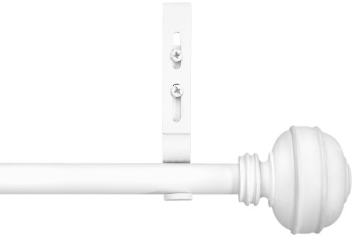 Unique Adjustable Curtain rods from 98 to144-Inch Knob End Cap Rod Set, White ()