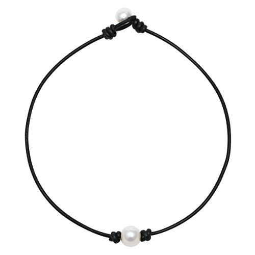 POTESSA Single Pearl Choker Genuine Black Leather Necklace Handmade Pearl Jewelry Gifts for Women Girls Ladies 14