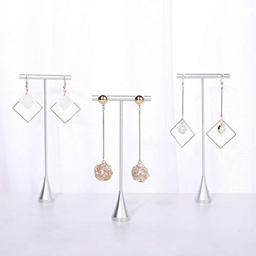 Soportes de aros para joyeria plateados altura 15cm (3un)