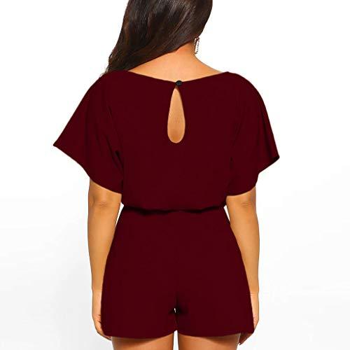 Combi Et Pantalon Pour À Combinaison Dégagée Daysing Grande Longues Encolure Large Femmes short Manches Femme Bretelles Wine Taille 7gY6bfyv