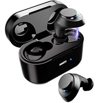 ワイヤレスイヤホン ブルートゥースイヤホン 最新ブルートゥース5.0スポーツヘッドホン Hi-Fi超高音質 3Dステレオサウンド AAC対応 4Xノイズキャンセリング 左右分離両耳対応 自動ペアリング タッチコントロール マイク内蔵 IPX5防水 充電収納ケース付き(黒) B07QZ1GN7K