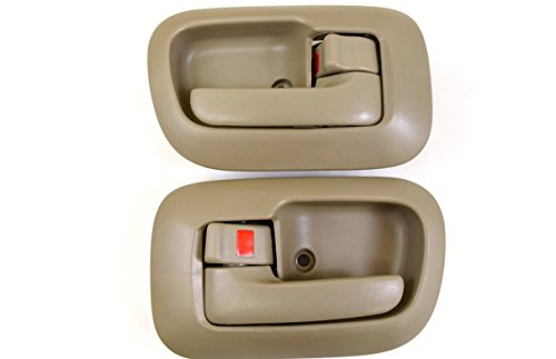 PT Auto Warehouse TO-2530E-DS - Inside Interior Inner Door Handle/Trim, Beige/Tan - Front Left/Right Pair ()