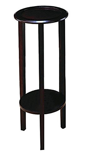 (Round Plant Stand Table with Bottom Shelf Espresso)