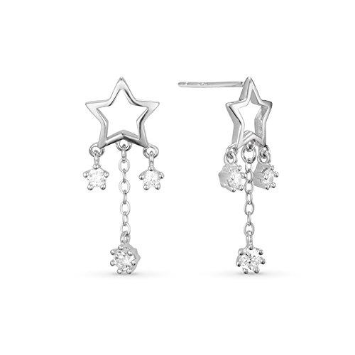 SWEETIE- 925 Pur Argent Clous d'oreilles pendantes, Micro Pave AAA Zircon Etoiles, platine plaque, 25mm