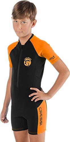 Cressi Jungen Little Shark Kinder Neoprenanzug Schwimmanzug, Schwarz/Orange, 11/12 Jahre