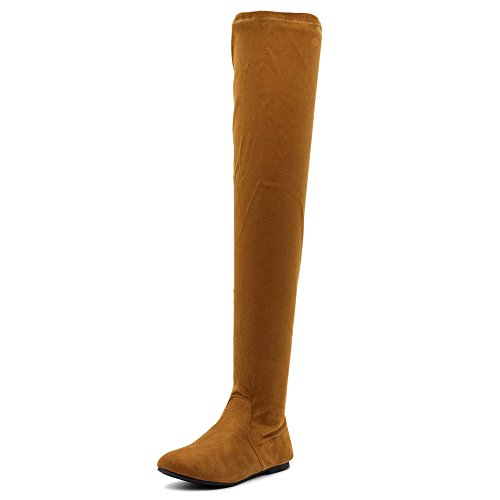 Ollio Women Shoe Adjustable Drawstring Span Faux Suede Thigh-high Zip Up Long Boots TWB11(9 B(M) US, Camel)
