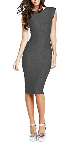 REPHYLLIS Women's Casual Boat Neck Slim Bodycon Business Party Work Pencil Dress (Medium, Grey)