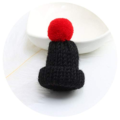 Women Knitted Hairball Hat Brooch Sweater Pins Badges Lovely Girl Backpack Collar Lapel Pin Jewelry Christmas Gift Black