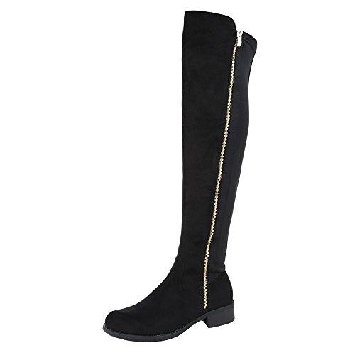 Ital-Design Overknee Stiefel Damen Schuhe Klassischer Stiefel Blockabsatz Moderne Reißverschluss Stiefel Schwarz