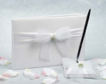 C20-25275 White Rose Wedding Guestbook and Pen Set