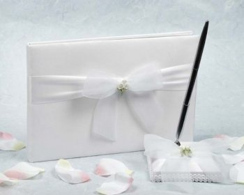 Lily Porcelain Calla Bouquet - Calla Lily Bouquet Wedding Guestbook and Pen Set: Set Color: Ivory/ Gold Pen