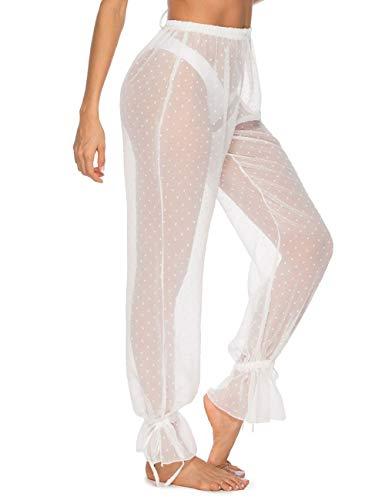 (Julier Womens Sexy See Through Pants High Elastic Waist White Chiffon Cover Up)