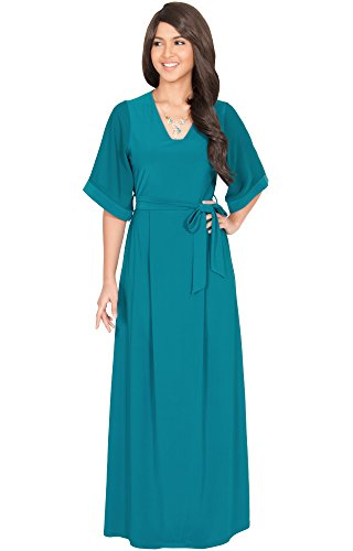 Jade Evenings Womens Dress (Koh Koh Petite Womens Long Half Sleeve With Sleeves V-Neck Belted Evening Semi Formal Flowy Modest Smocked Casual Summer Gown Gowns Maxi Dress Dresses For Women, Blue/Green Jade XS 2-4 (1))