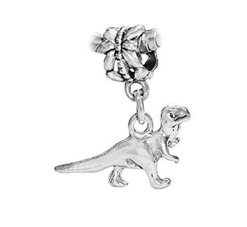 Dinosaur T Rex Tyrannosaurus Toy Dangle Charm for Silver European Bead Bracelets Crafting Key Chain Bracelet Necklace Jewelry Accessories Pendants - Hematite Bead Dangle