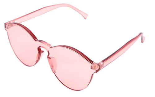 FEISEDY Stylish Round Transparent Lens Rimless Flame Sunglasses - Sunglasses Light Pink