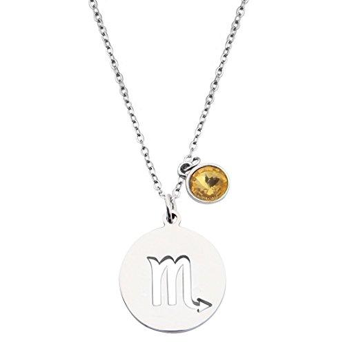 KUIYAI Stainless Steel Zodiac Sign and Birthstone Charm Necklace Bracelet (November-Scorpio Necklace)