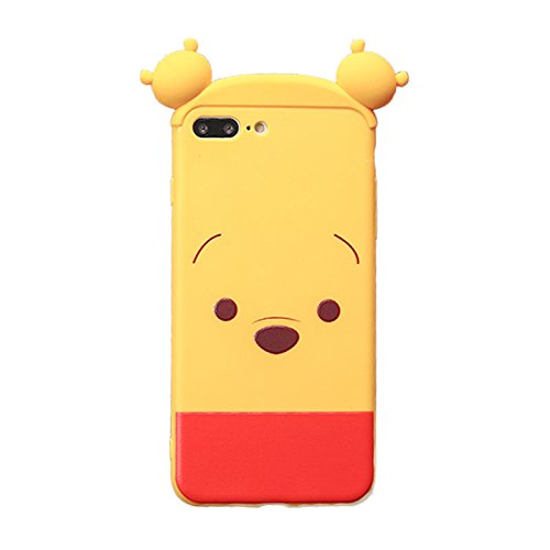 separation shoes 089c5 244d0 Soft TPU 3D Cartoon Winnie The Pooh Bear Case for Apple iPhone 7+ 7Plus 8+  8Plus Large Size 5.5 Screen Red Yellow Cute Lovely High Fashion Fun Cool ...