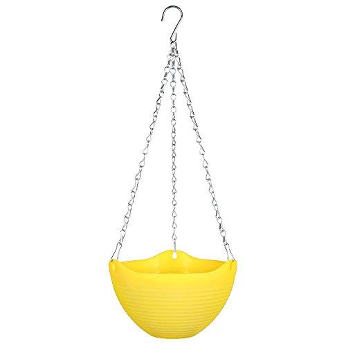 Mkono Hanging Flower Plant Pot Chain Basket Planter Holder 1pcs-Yellow