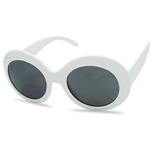 White Oval Retro Inspired Mod Fashion Women's Suglasses (White, ()