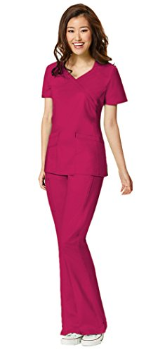 (WonderWink Women's WonderFlex Lady Fit Charity Fashion Y-Neck Top 6308 and WonderFlex Grace Flare Leg Pant 5308 Scrub Set (Crimson - XX-Large))