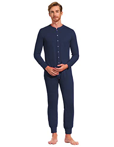 (Zexxxy Men Nightwear Non-Footed Adult Onesie Soft Loungewear for Winter Navy M)