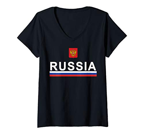 Womens Sports-style Flag and Coat of Arms of Russia V-Neck T-Shirt