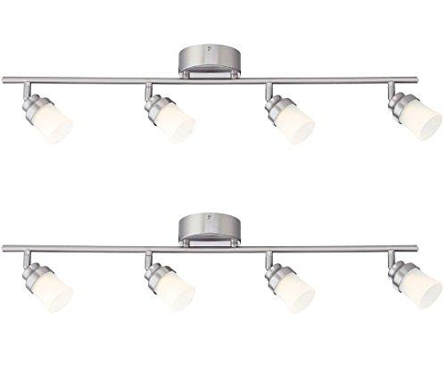 Designers Fountain EVT102027-35D-2 3'. Led Brushed Nickel Track Lighting Kit with 4 Led Track Lights (2 Pack) (Modern Nickel Track Kit)