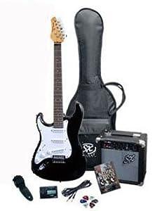 rst bk lh full size left handed black electric guitar package w guitar amp strap