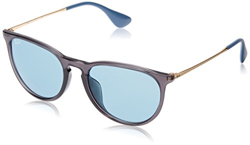 Ray-Ban RB4171F Erika Round Asian Fit Sunglasses, Grey/Light Blue Mirror, 54 mm ()