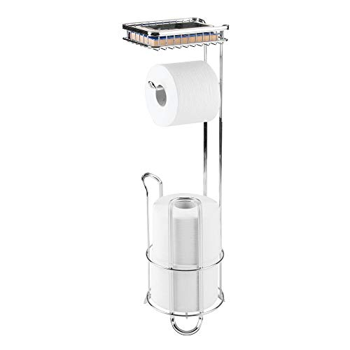 mDesign Freestanding Metal Wire Toilet Paper Roll Holder Stand and Dispenser with Storage Shelf for Cell, Mobile Phone - Bathroom Storage Organization - Holds 3 Mega Rolls - Chrome