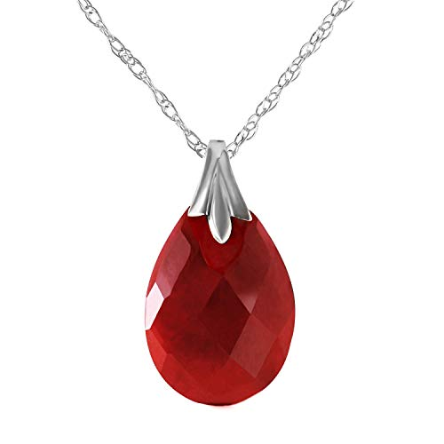 Galaxy Gold 14k Solid White Gold Pendant Necklace with Flat Pear Shape Briolette Cut Dyed Natural Ruby Pendant High Polished (22)