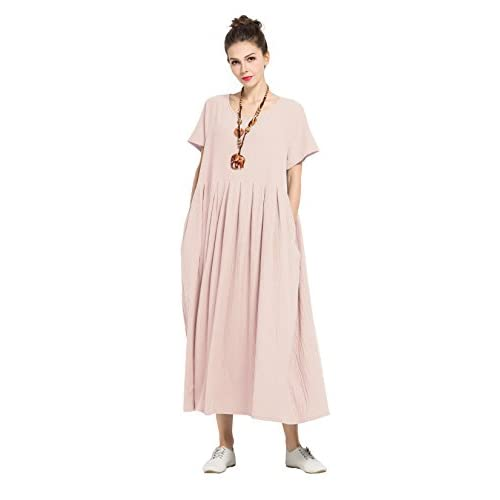 a833131077 Anysize Soft Linen cotton Loose Dress Plus Size Dress Spring Summer Dress  F122A chic