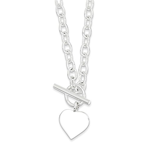 Sterling Silver Engraveable Heart Disc on Fancy Link Charm Toggle Necklace Length 18 Inch