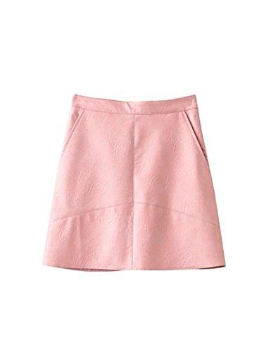 JOTHIN 2017 Nouvelle Fminine Style Europen Mode Jupe en Cuir PU Slim de Jupe Robe Sauvage Couleur Unie Rose