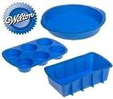Wilton Silicone Ultra-flex Silicone Bakeware Set Cake Pan, Loaf Pan, Muffin Pan