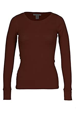 Fitscloth Women's RT1205 Waffle Thermal Crew Neck T Shirt Brown Small