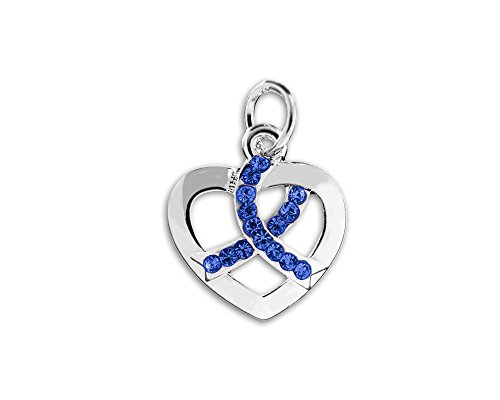Fundraising For A Cause Crystal Dark Blue Ribbon Heart Charm (Retail) Child Abuse Blue Ribbons