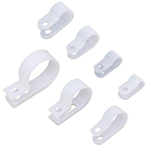 Rustark 250Pcs 7 Sizes White Nylon R-type Cable Clamp Cable Organizer Cord Clips for Wire Management