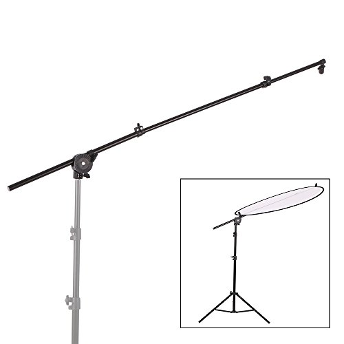 Andoer Extendable Reflector Diffuser Holder Stand Boom Arm Support Photo Studio Photography with Clip Flexible Swivel Grip Head Clamp by Andoer