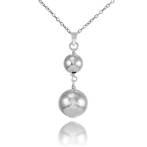 (Sterling Silver Graduated Double Ball Bead Drop Necklace)