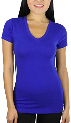ToBeInStyle Women's Short Sleeve V-Neck Basic T-Shirt - Denim Blue - -