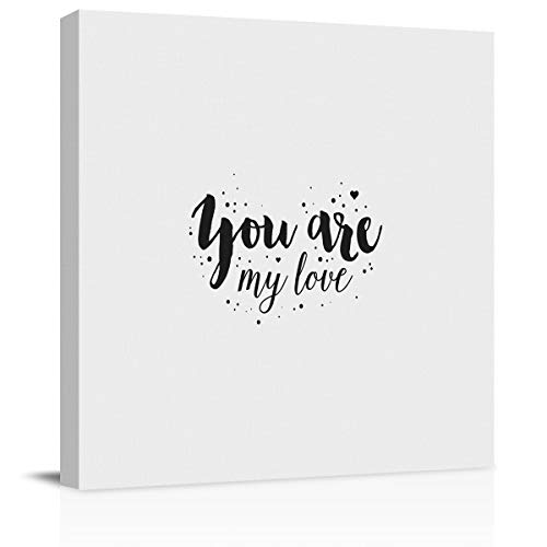 BABEMAPS Canvas Wall Art Abstract You are My Love Pictures Home Wall Decorations for Bedroom Living Room Oil Paintings Canvas Prints Framed 16x16 in