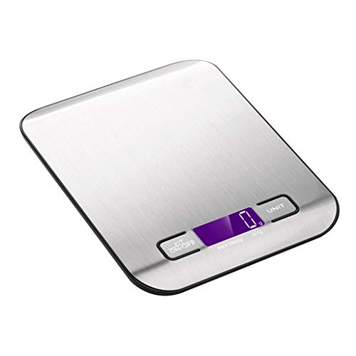 Digital Kitchen Scales, 5kg/11lb Stainless Steel Weighing Food Scales with LCD Display Electronic Cooking Scale Tare Function Auto Off Silver (Color : Silver, Size : 18 * 14 * 2cm) ()