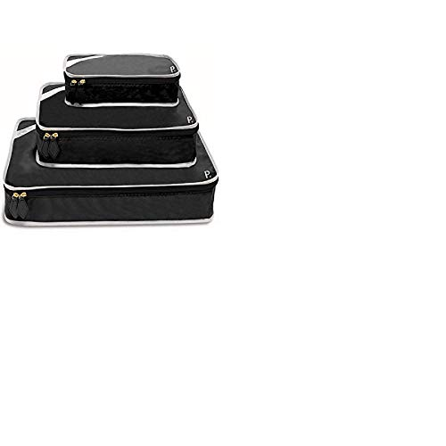 Paravel Travel Packing Cubes | Set of 3 | Derby Black | Luggage Bag Organizers for Travel Accessories, Shoes, Toiletries, Laundry, Compression Storage Cubes | Various Sizes