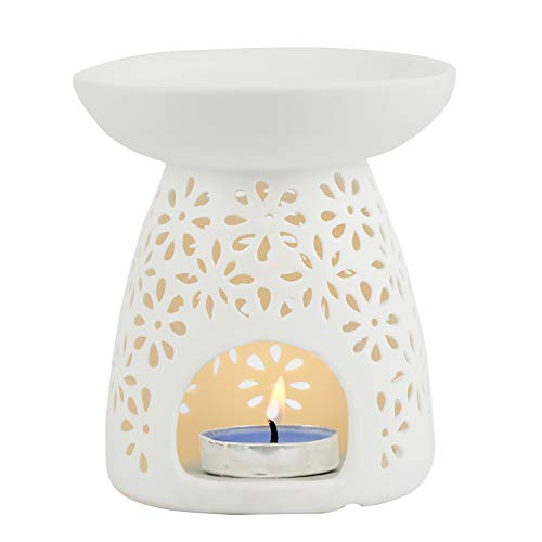 Tea Light Holders, Aromatherapy Essential Oil Wax Tart Warmers Burners Melter Diffusers Aroma Ceramic Candle Holder Night Light Lamp Porcelain Decoration for Parlor Bedroom Carved Petal Shape White