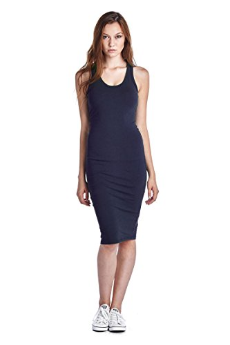 LaClef Women's Sleeveless Basic Racer Back Tank Midi Cotton Casual Dress (X-Large, Navy) ()