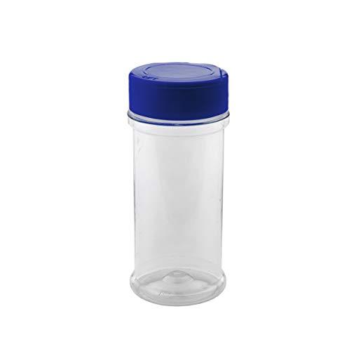 (Marketing Holders Popcorn Salt Dispenser Powdered Sugar Empty Spice Seasoning Container Salt Pepper Shaker Dry Herb Bottle Cinnamon Sugar Sifter 8 oz Blue Lid Pack of 12)