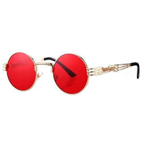 Pro Acme John Lennon Metal Spring Frame Round Steampunk Sunglasses (Gold Frame/Red - Migos Glasses