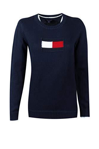 (Tommy Hilfiger Women's Centered Logo Cotton Rib Knit Creweck Sweater (X-Large, Navy) )